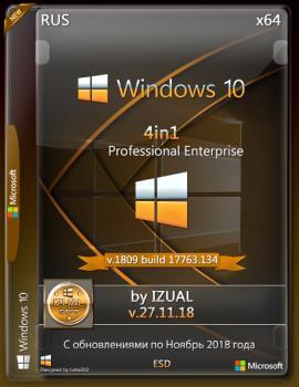 Windows 10 Professonal+ Enterprise x64 4in1 v.1809 RS5 build 17763.134 by IZUAL v.27.11.18 (esd)
